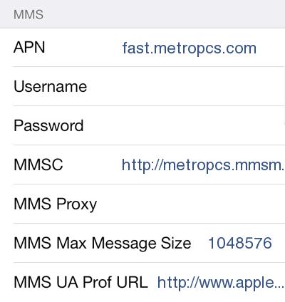 metropcs apn settings ipad