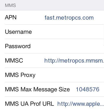 metropcs apn settings ipad