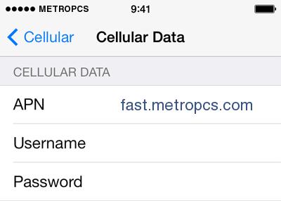 metropcs apn settings iphone