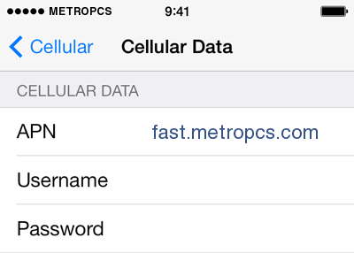 metropcs apn settings iphone