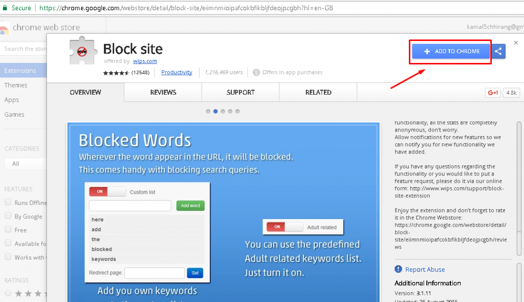 How to block/unblock any website on chrome?