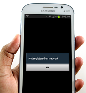 not registered on network