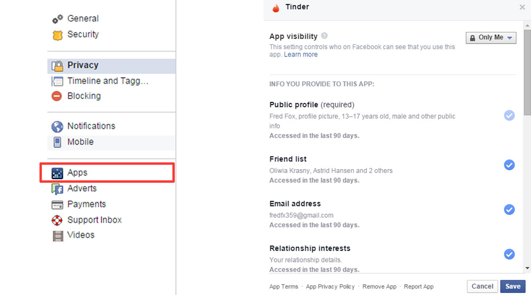 tinder facebook settings