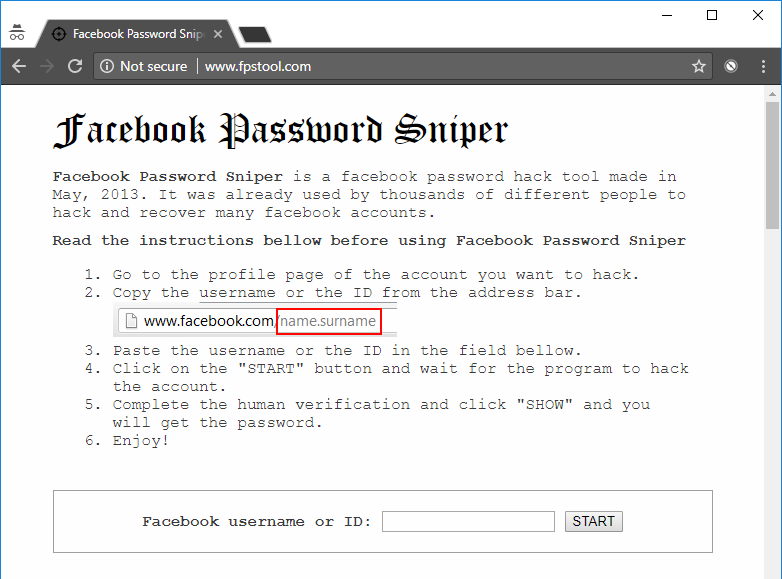 facebook password sniper