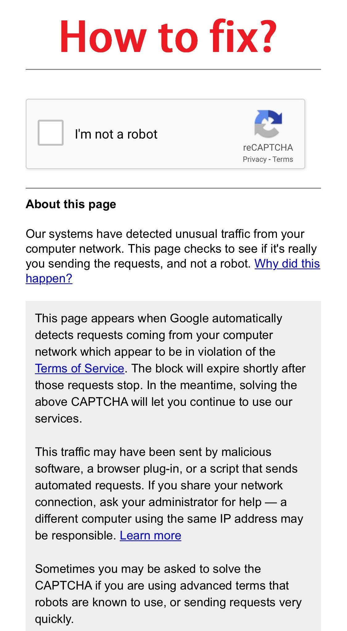 unusual traffic google