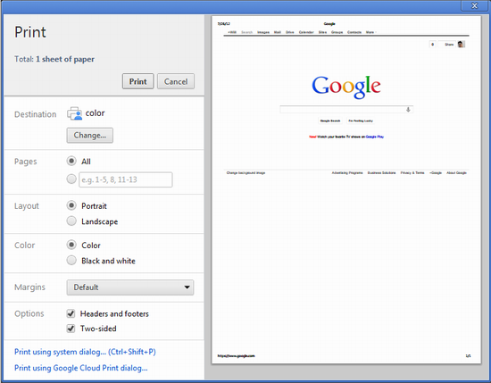 how to print from chrome