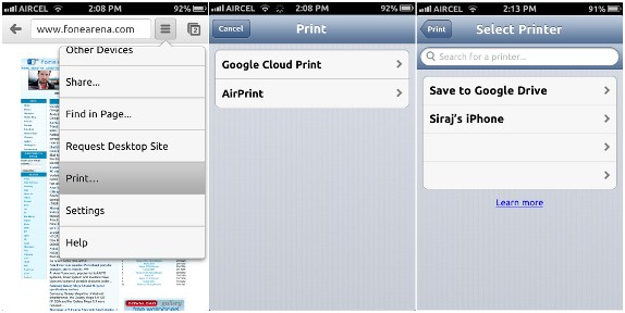 print from chrome iphone