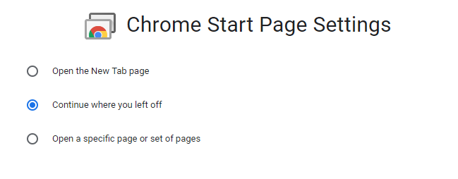 chrome start page settings