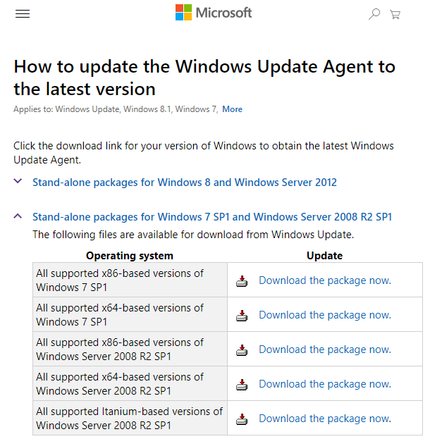 download windows update agent
