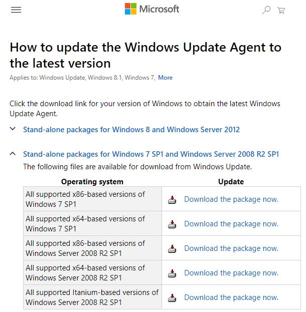 download windows update agent