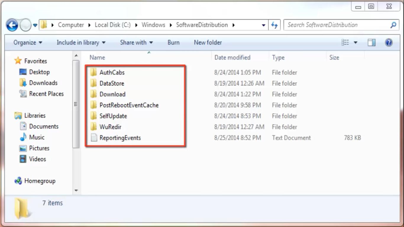 empty software distribution folder