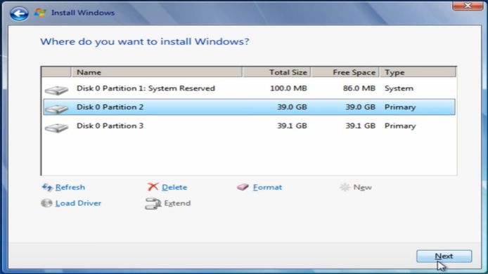 windows 7 install select drive