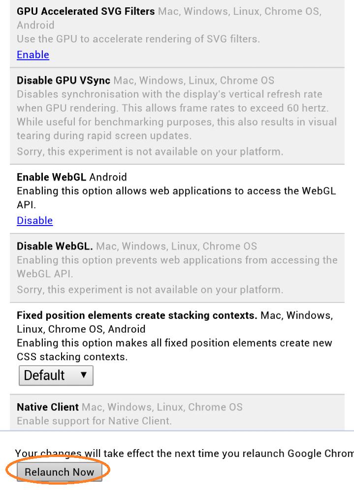 chrome webgl enable