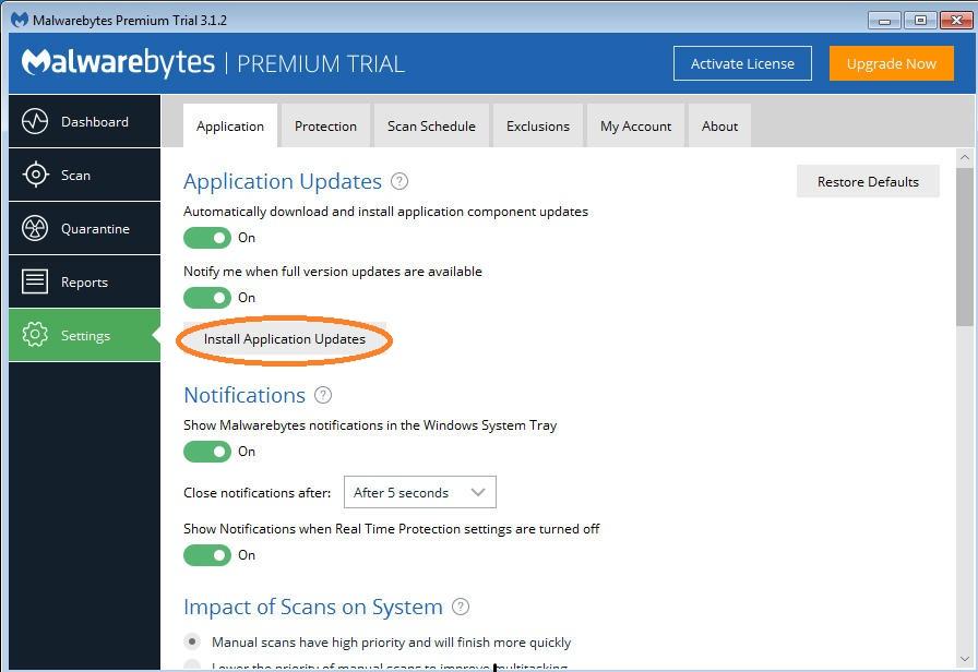 malwarebytes wont turn on