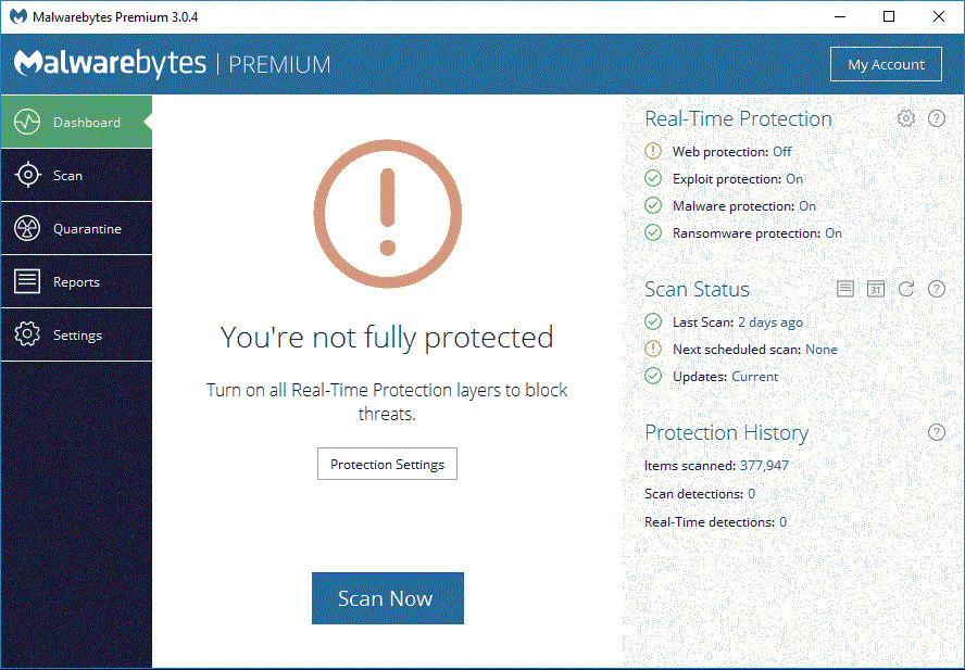 malwarebytes web protection wont turn on