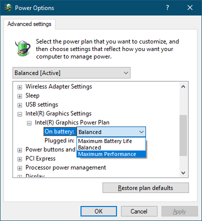 power plan options graphics settings
