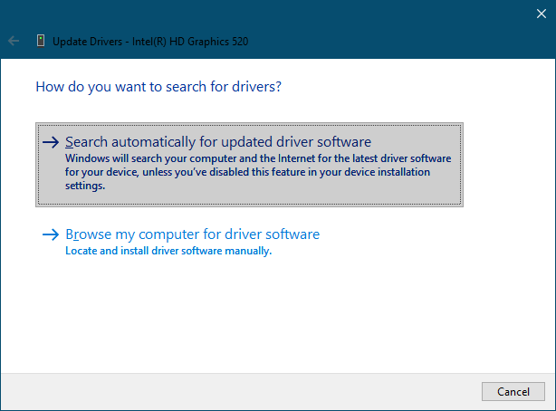 update display driver search automatically