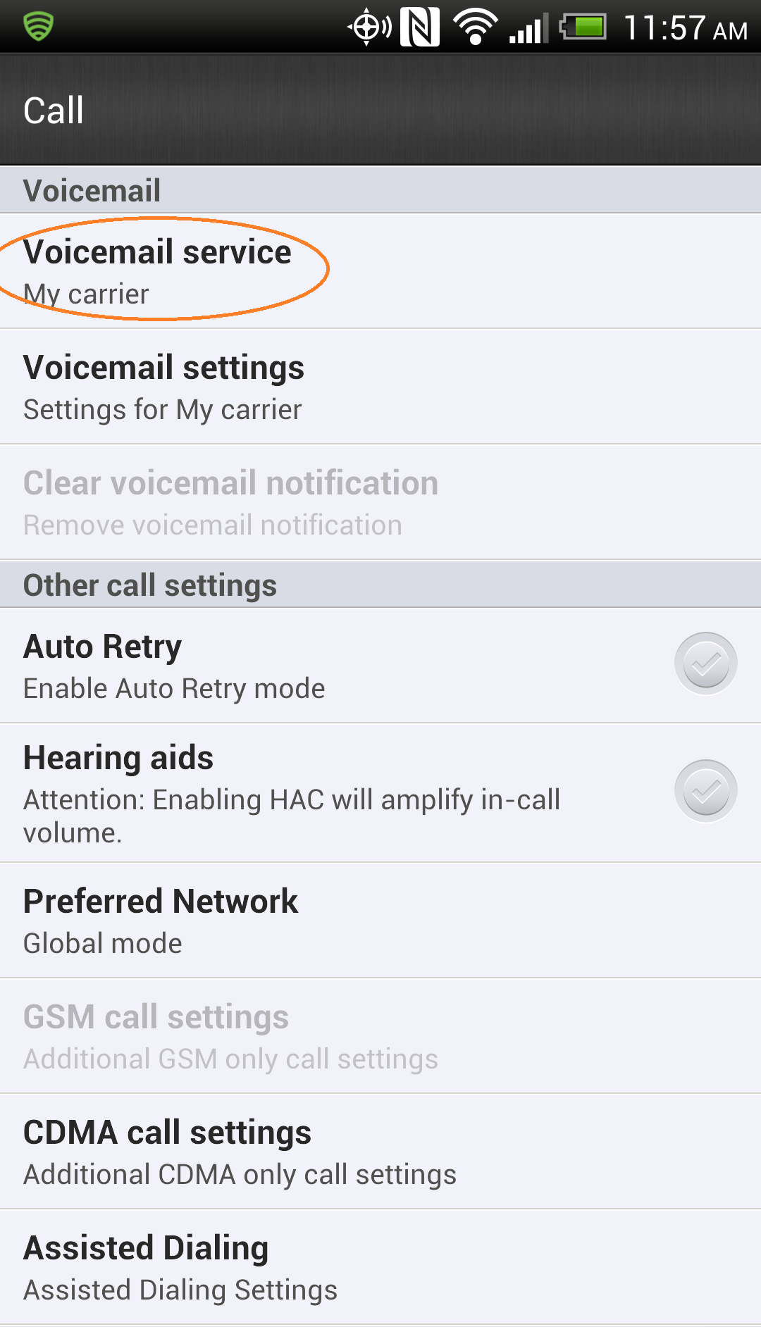 voicemail settings