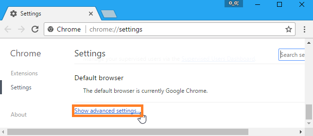 Click on Show Advanced Settings
