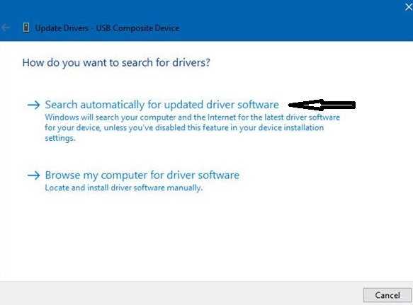 Search automatically for update drivers software