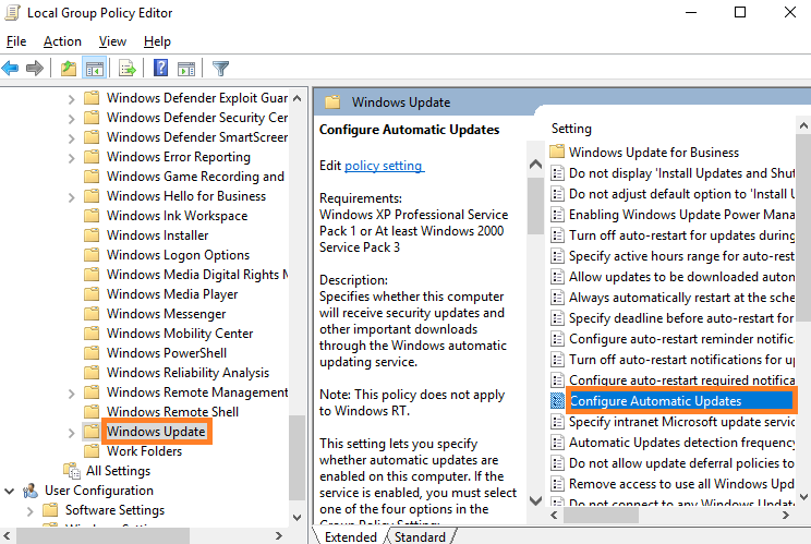 click on Configure automatic update