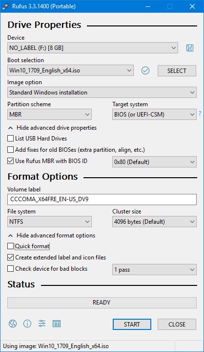 rufus windows 10 install