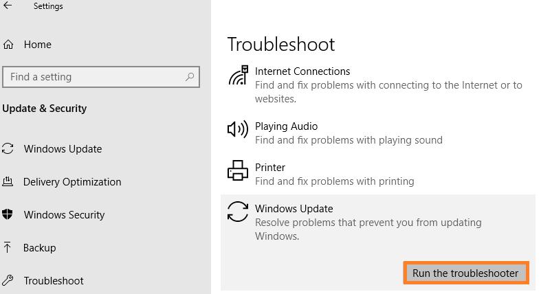 Hit on Run the troubleshooter