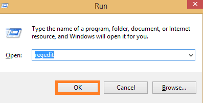 In run box type regedit