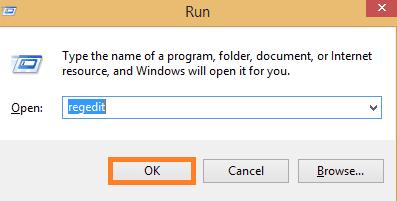 In run box type regedit