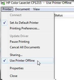 Untick the option name as use printer offline