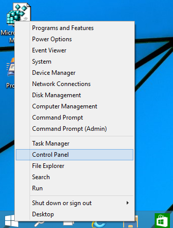 Control panel by using quick access menu