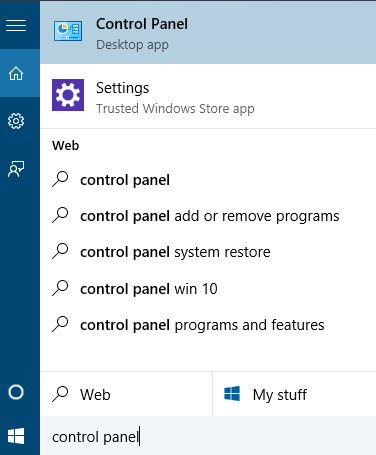 Control panel by using start menu