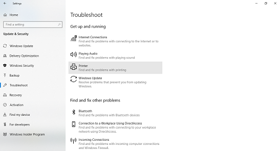 printer troubleshoot windows 10