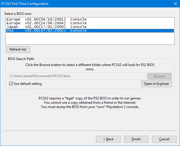 select valid country for ps2 bios