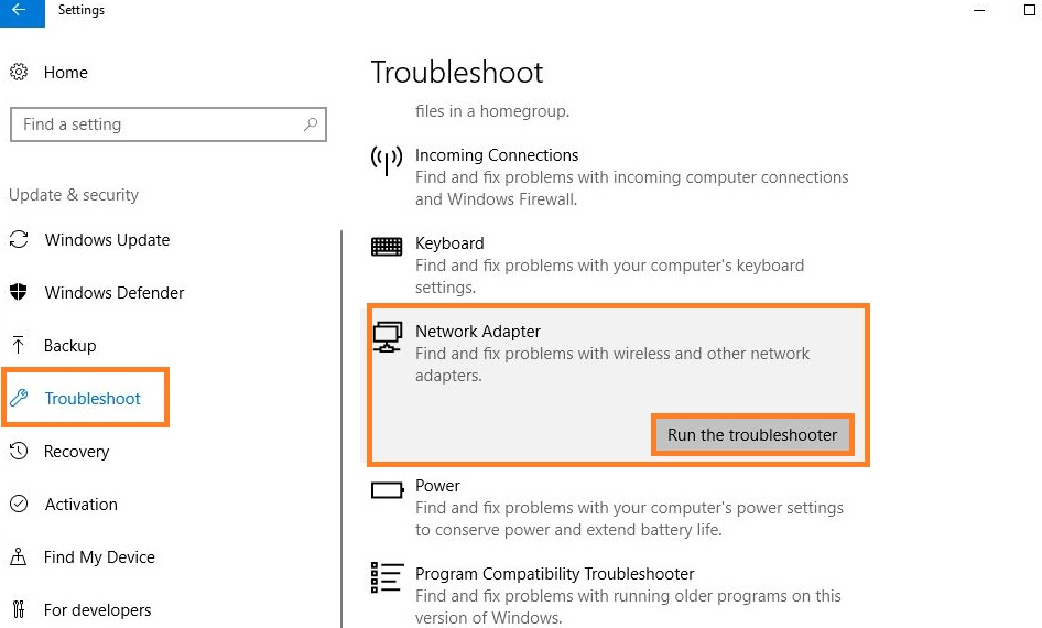 Tap on the Troubleshoot