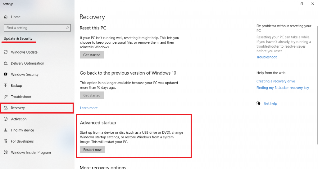advanced startup recovery windows 10
