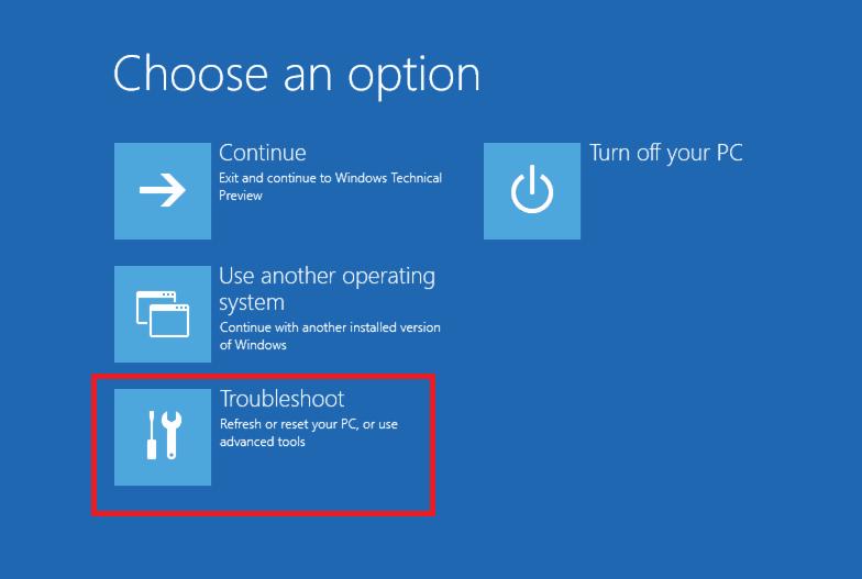 choose an option troubleshoot