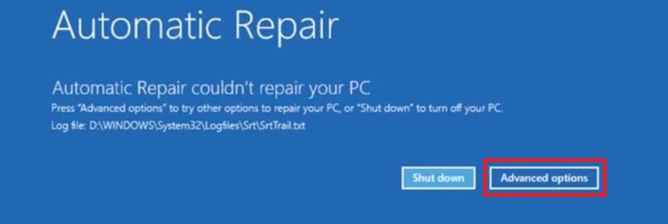 repair advanced options