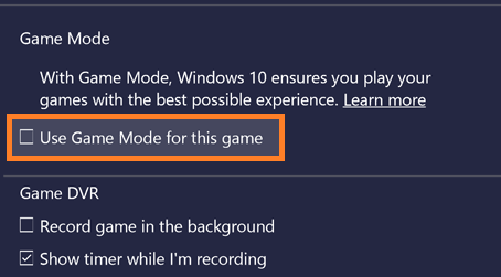 Disable Game Mode