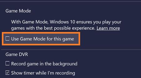 Disable Game Mode
