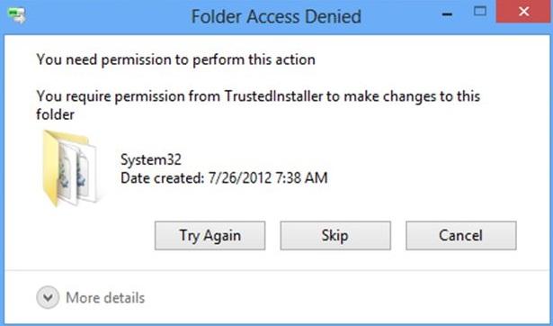 Gain Permission from Trustedinstaller