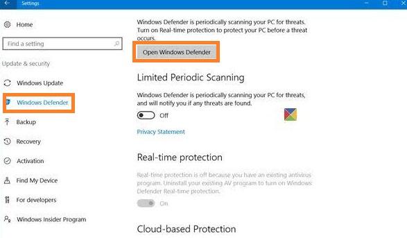 Tap on Windows defender
