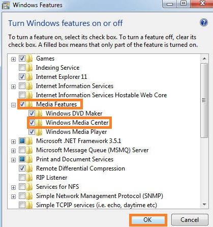 Untick Windows Media Player and Windows Feature