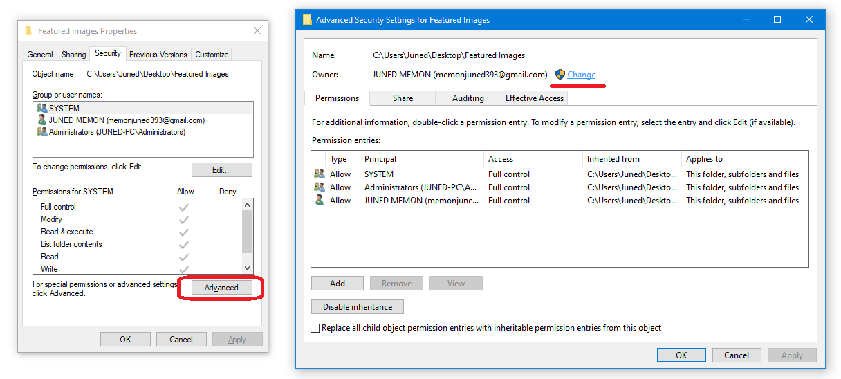 Advanced Security Changes of Files