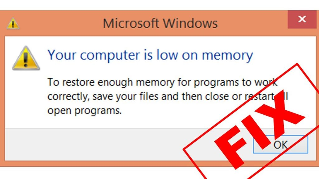 your computer is low on memory