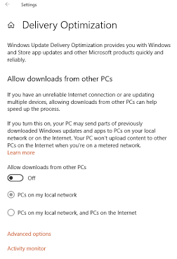 Disable Delivery optimization feature on Windows 10