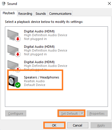 Set Default Headphones