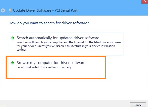 Tap on the Browse my computer for driver software