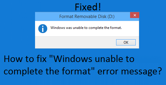 Window was unable to complete format