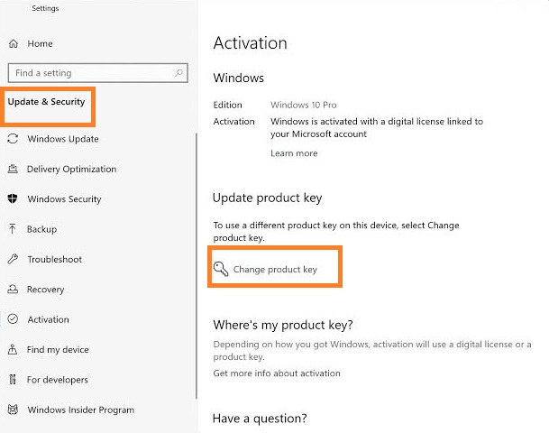 tap on the Change Product Key
